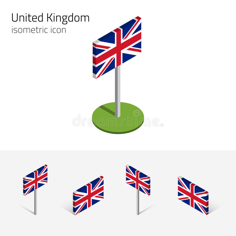 Storbritannien flagga, fastställda isometriska symboler 3D för vektor vektor illustrationer