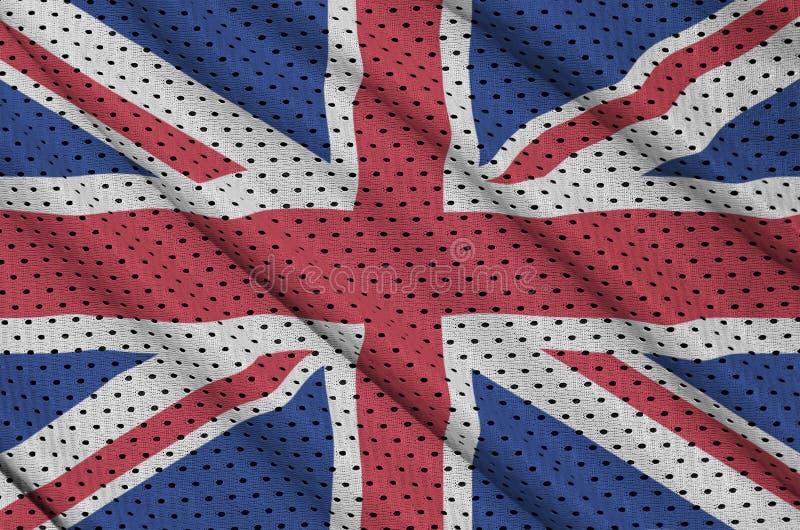 Storbritannien flagga som skrivs ut på ett ingrepp för polyesternylonsportswear arkivbild