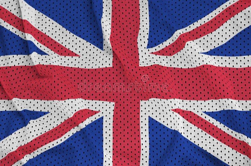 Storbritannien flagga som skrivs ut på ett ingrepp för polyesternylonsportswear royaltyfri bild