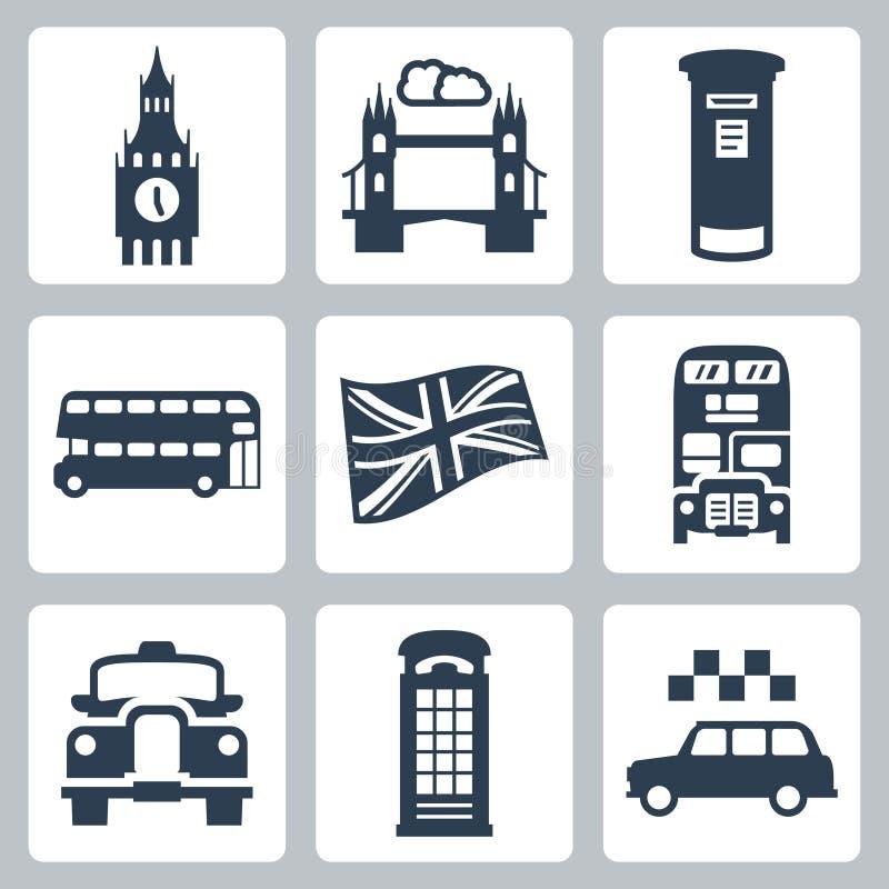 Storbritannien London symbolsuppsättning royaltyfri illustrationer