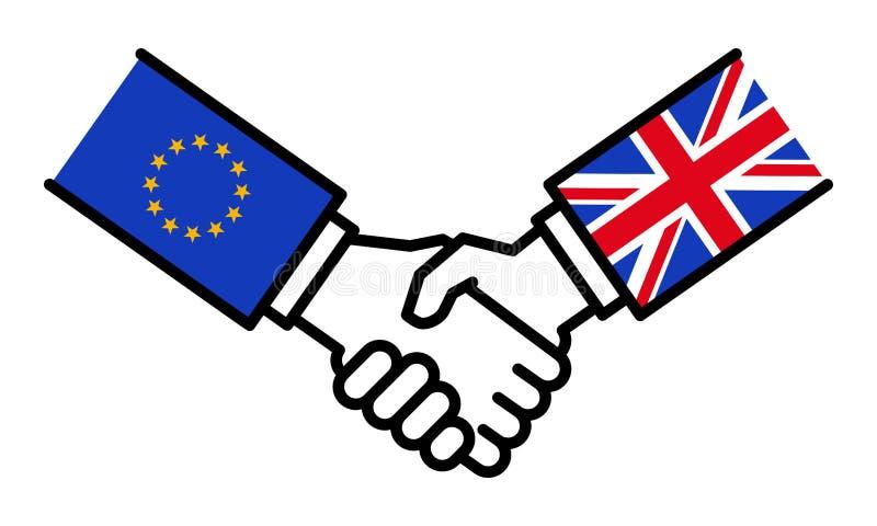Storbritannien som skakar händer med EU, Brexit, överenskommelse, förhandlingar, affärsförbindelse, begrepp, linje symboler royaltyfri illustrationer