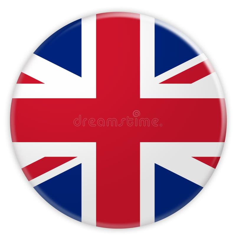 Storbritannien union Jack Flag Button, illustration 3d stock illustrationer
