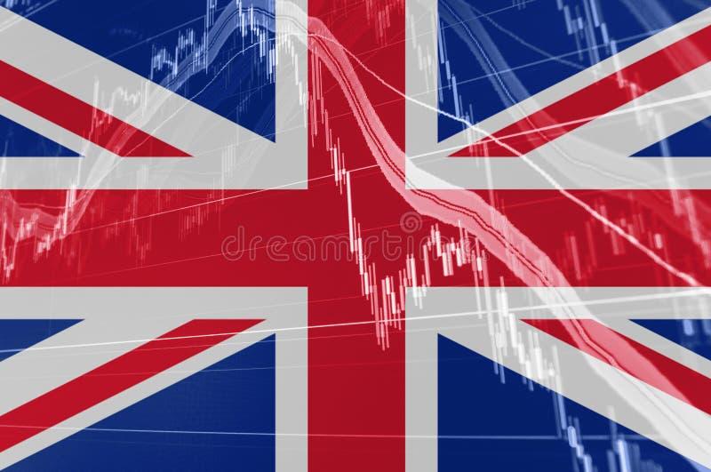 Storbritannien Union Jack flagga med börsdiagramgrafen som indikerar Brexit royaltyfri illustrationer