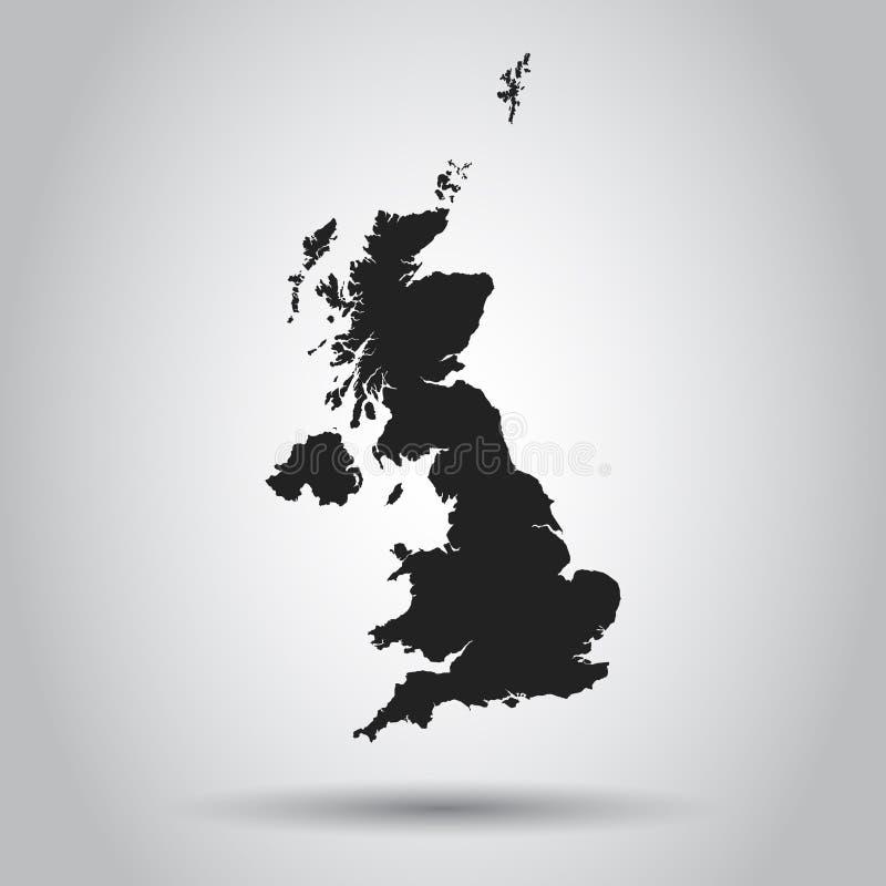 Storbritannien vektoröversikt Svart symbol på vit bakgrund vektor illustrationer
