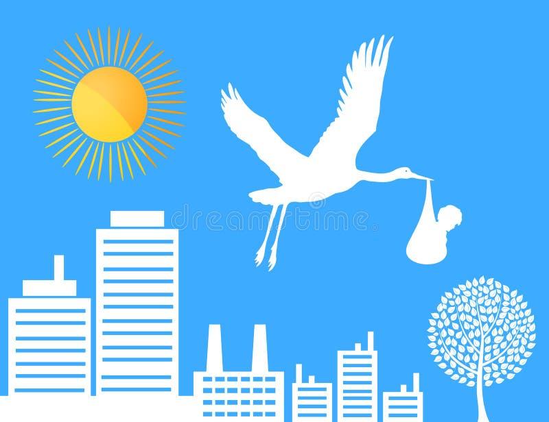 Storch über einer Stadt stock abbildung