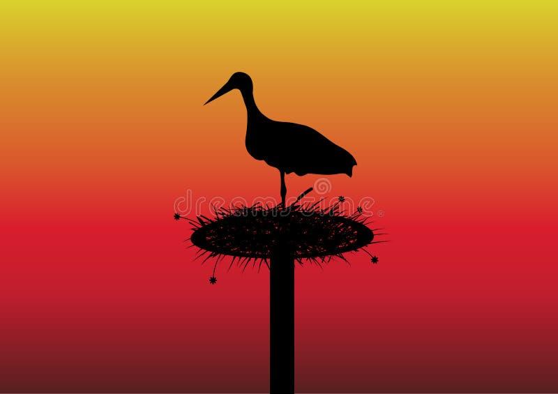 Storch auf dem Nest vektor abbildung