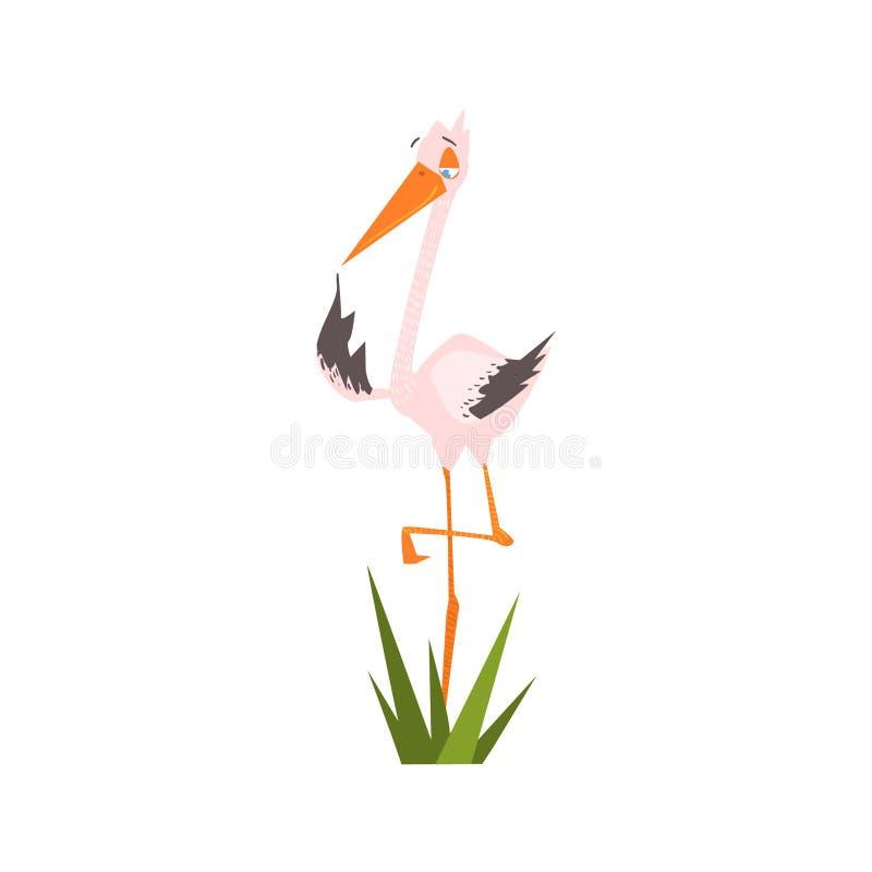 Storch, der auf einer Bein-flachen Karikatur steht lizenzfreie abbildung