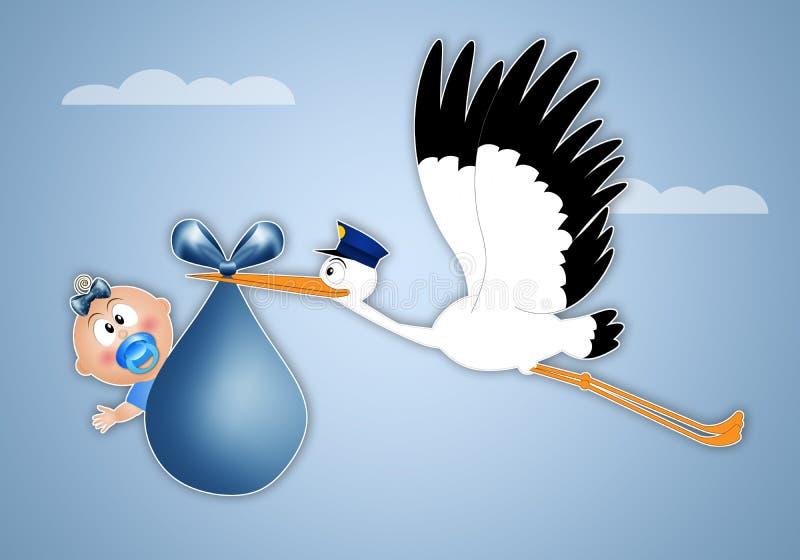 Storch, der Baby für Geburt liefert stock abbildung