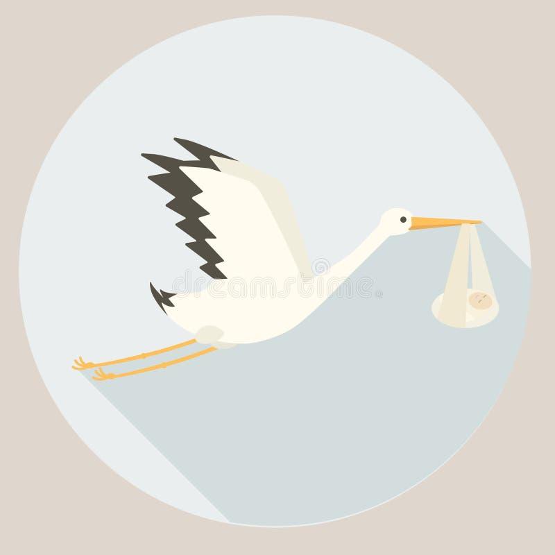 Storch, der Babykarikatur-Vektorillustration liefert vektor abbildung