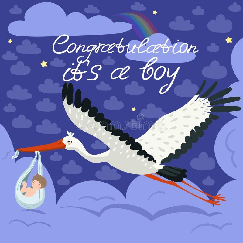 Storch, der ein nettes Baby in einer Tasche tr?gt Dieses ist eine Junge Babymitteilungs-Kartenschablone Vektorpostkarte stock abbildung