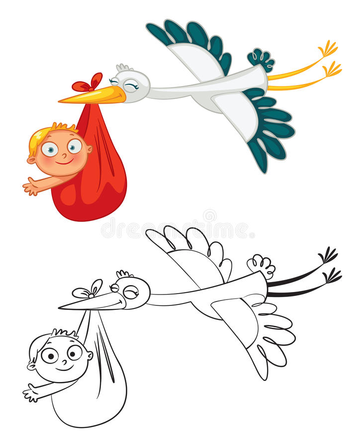 Storch, der ein nettes Baby trägt lizenzfreie abbildung