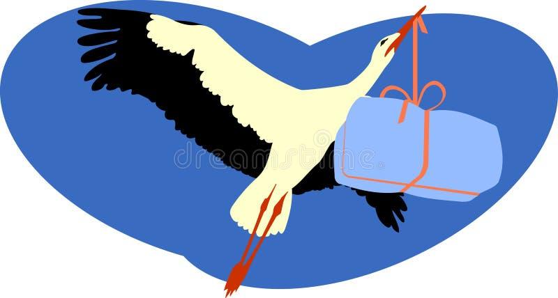 Storch, der ein Paket liefert lizenzfreie abbildung
