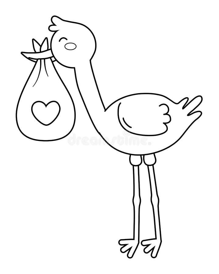 Storch, der eine Tasche mit Herzen in Schwarzweiss trägt lizenzfreie abbildung