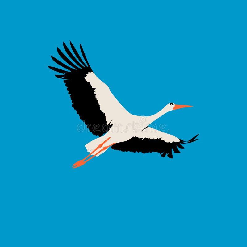 Storch in der flachen Art lizenzfreie abbildung