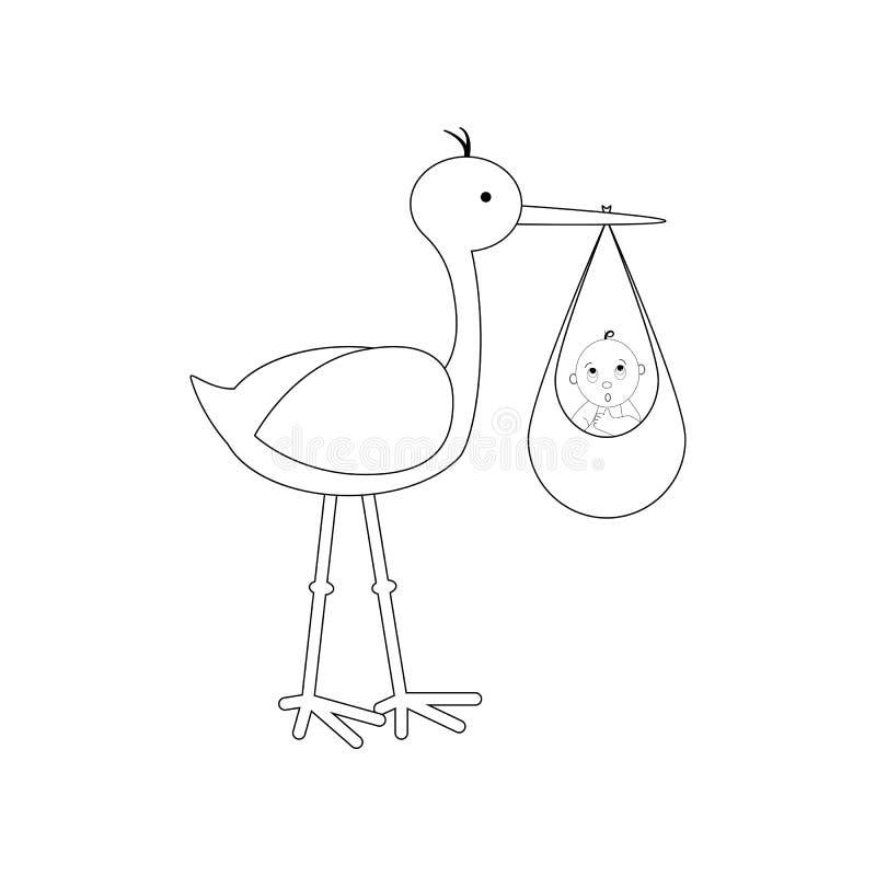 Storch holte das Baby lizenzfreie abbildung