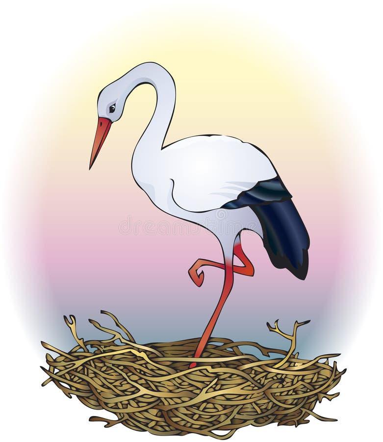 Storch im Nest stock abbildung