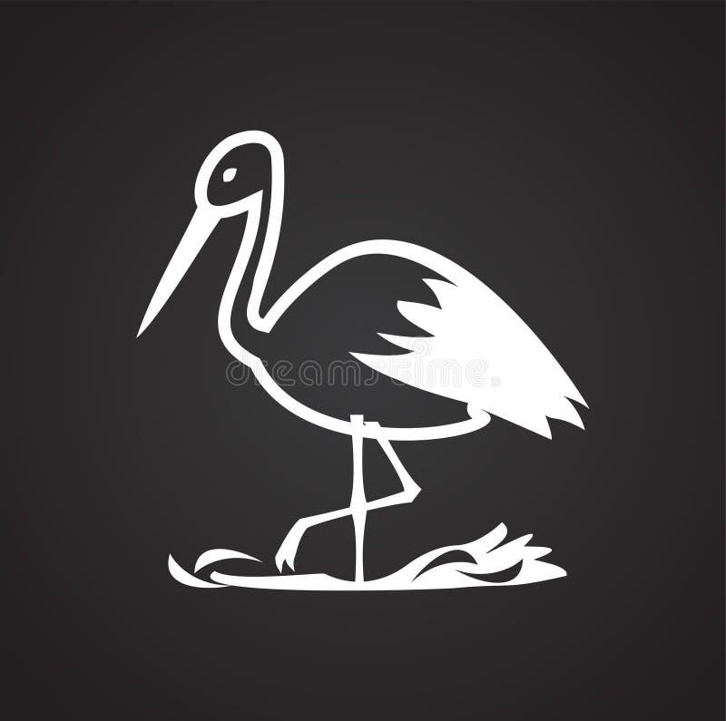 Storch im Nest auf weißem Hintergrund vektor abbildung