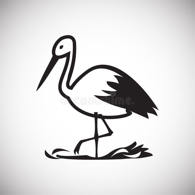 Storch im Nest auf weißem Hintergrund lizenzfreie abbildung