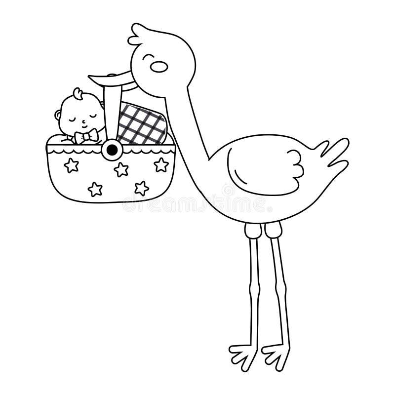 Storch mit Baby im Korb in Schwarzweiss lizenzfreie abbildung