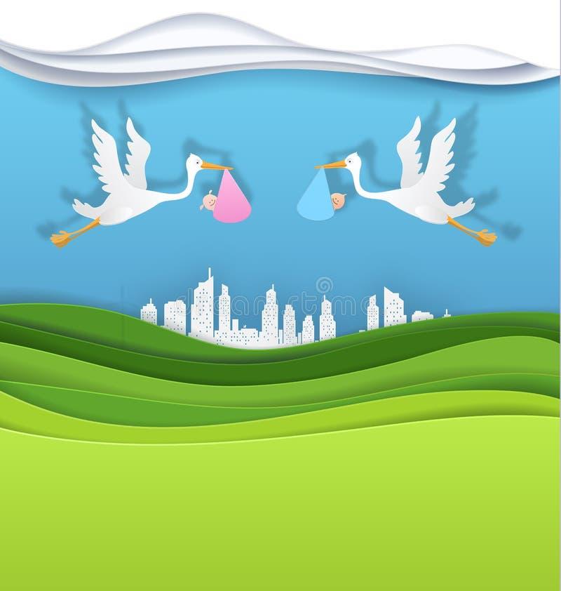 Storch mit Baby und Jungen in der grünen Stadtvektor-Papierkunst vektor abbildung