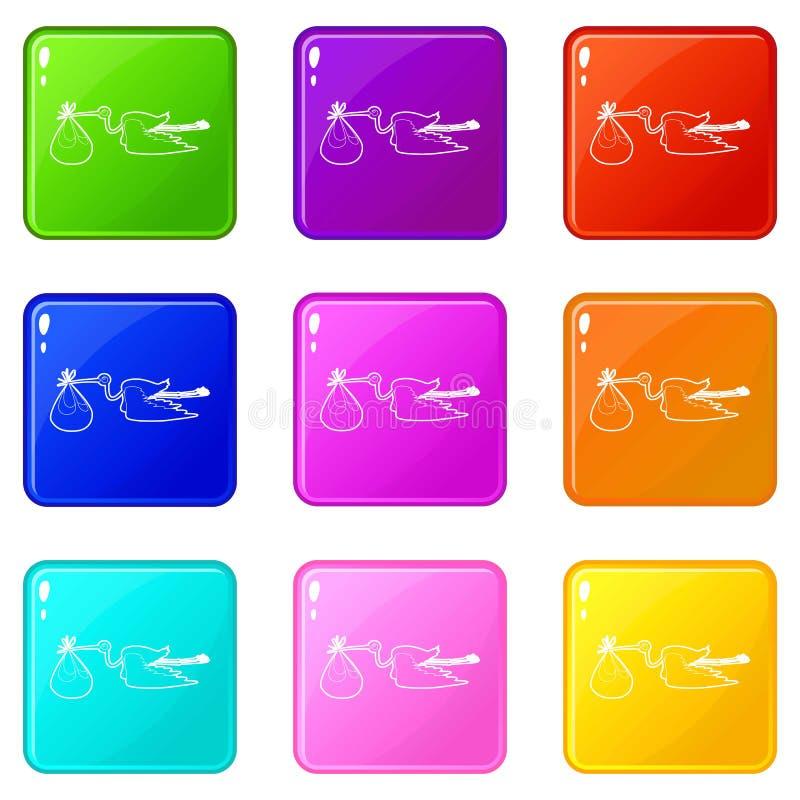 Storch mit Babyikonen stellte die 9 Farbsammlung ein lizenzfreie abbildung