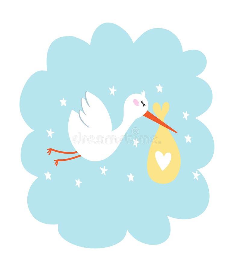 Storch mit Babyvektorillustration stock abbildung