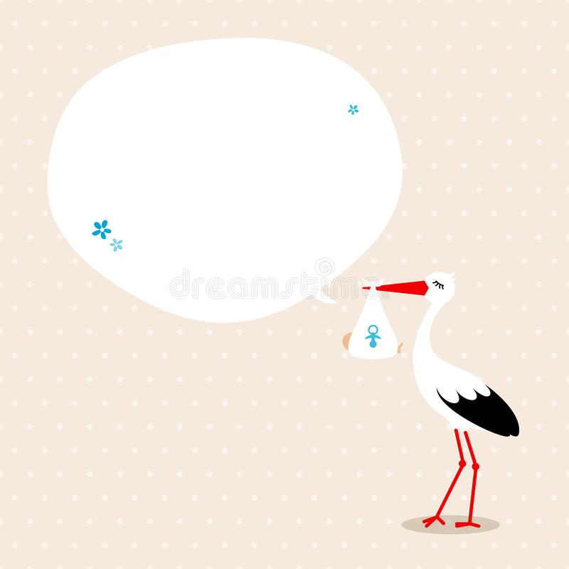 Storch mit beige Hintergrund-Punkten Baby Speechbubble vektor abbildung