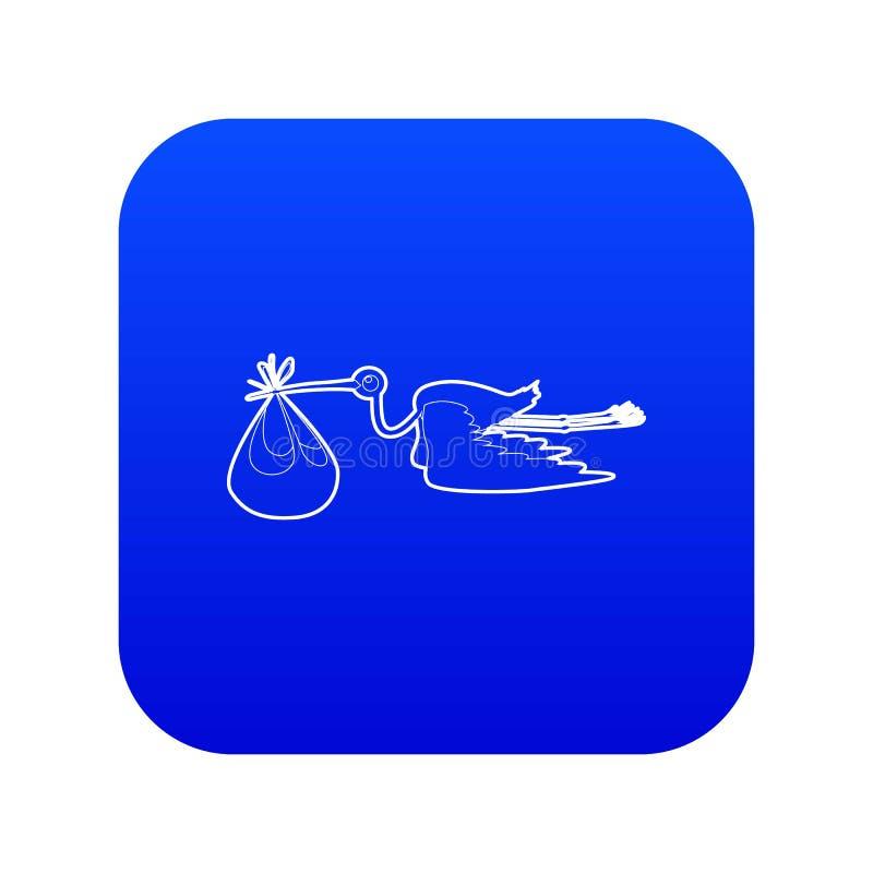Storch mit blauem Vektor der Babyikone lizenzfreie abbildung