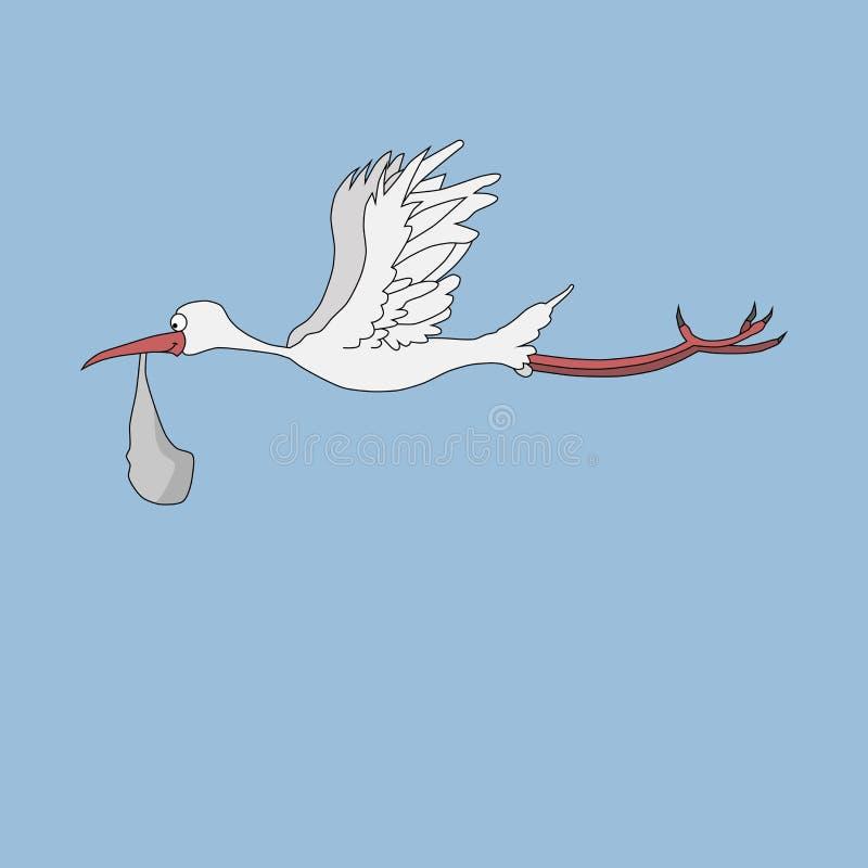 Storch mit einem Baby in einer Tasche gegen lizenzfreie abbildung