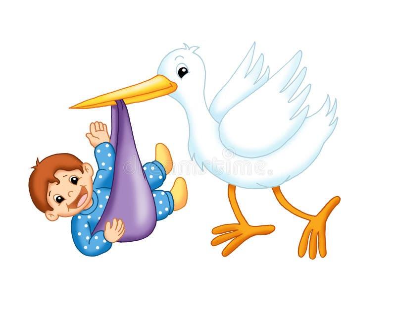 Storch mit einem männlichen Kind lizenzfreie abbildung