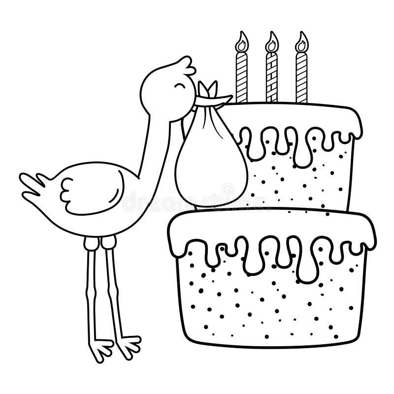 Storch mit Geburtstagskuchen in Schwarzweiss stock abbildung