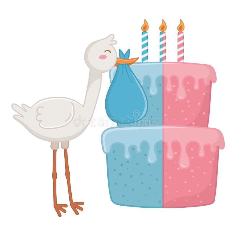 Storch mit Geburtstagskuchen-Vektorillustration stock abbildung