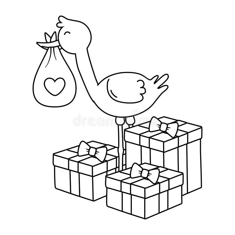 Storch mit Geschenkboxen in Schwarzweiss lizenzfreie abbildung