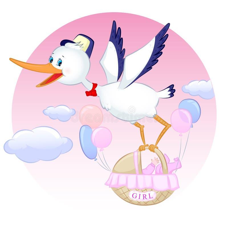 Storch mit Mädchen stock abbildung