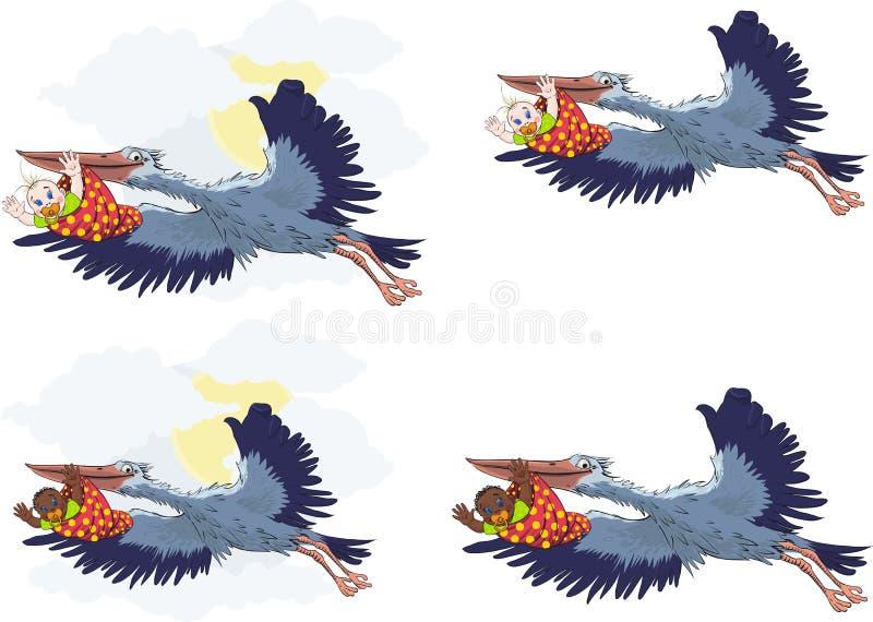 Storch Mit Schätzchen Lizenzfreie Stockbilder