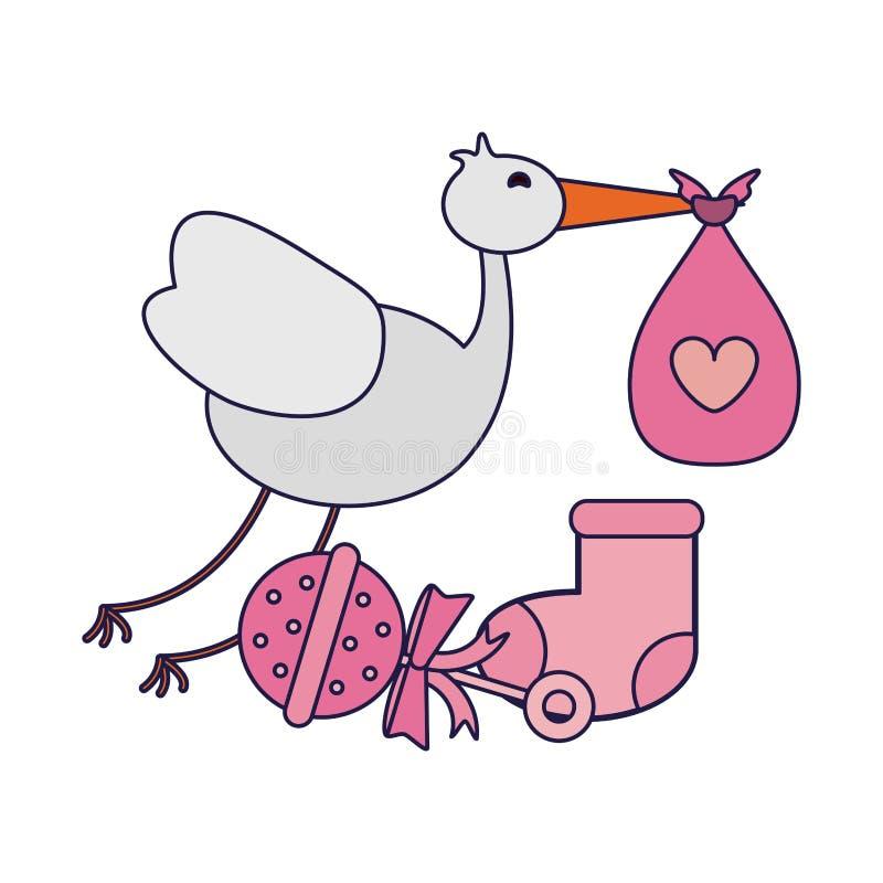 Storch mit Tasche und maraca mit Socke lizenzfreie abbildung