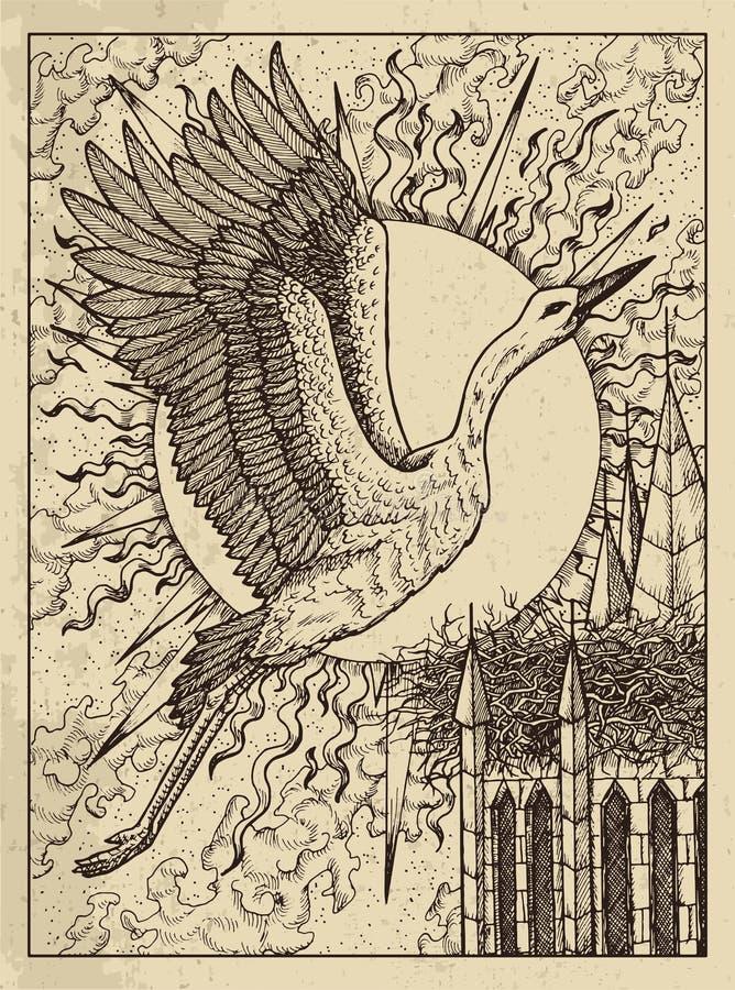 storch Mystisches Konzept für Lenormand-Orakel-Tarockkarte stock abbildung