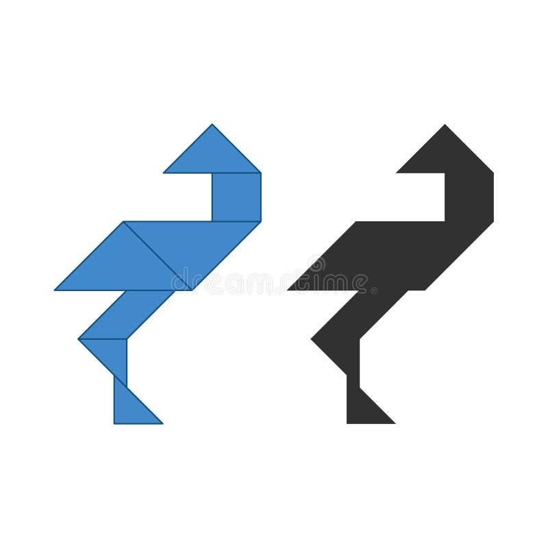 Storch Tangram Traditionelles chinesisches Zerlegungspuzzlespiel, sieben mit Ziegeln deckende St?cke - geometrische Formen: Dreie stock abbildung