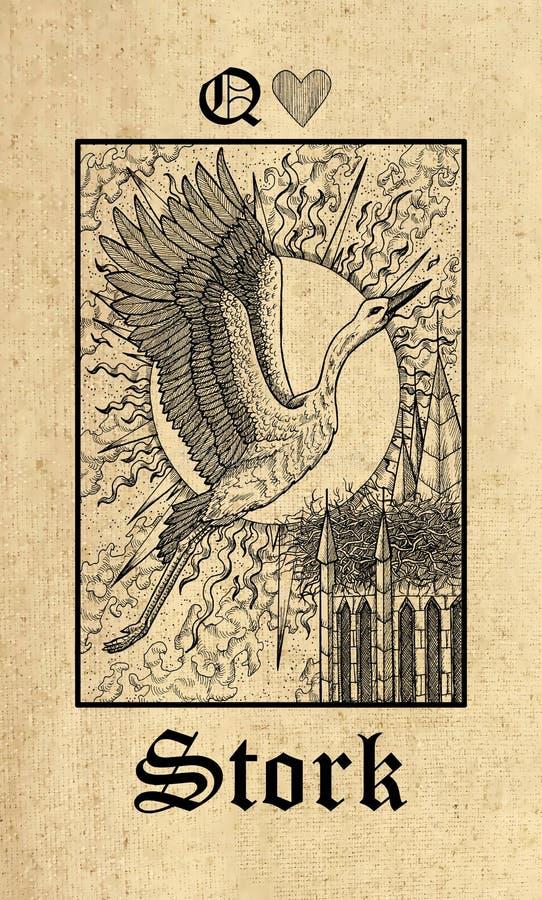 storch Tarockkarte Geheimnis-Orakelplattform Lenormand von der gotischen lizenzfreie abbildung