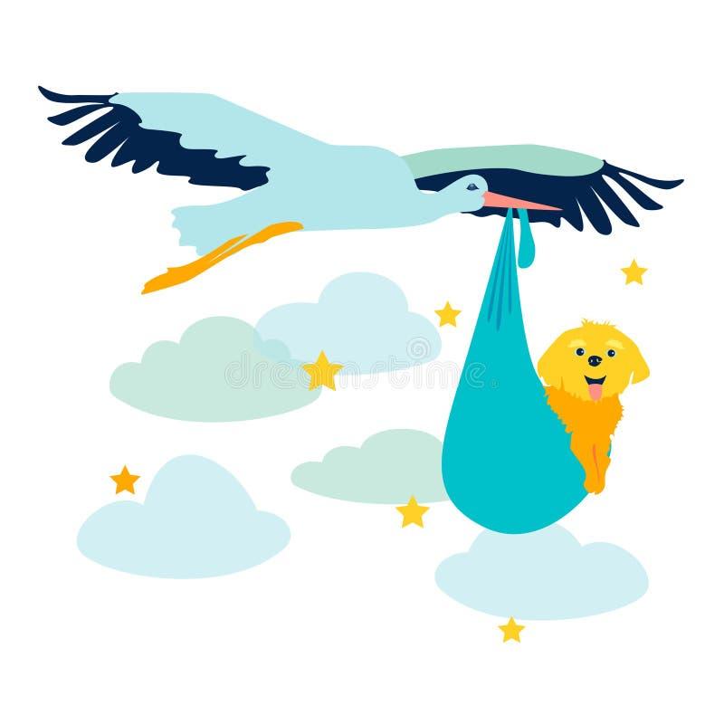 Storch trägt neugeborene Welpenvektorillustration Flache Art lizenzfreie abbildung
