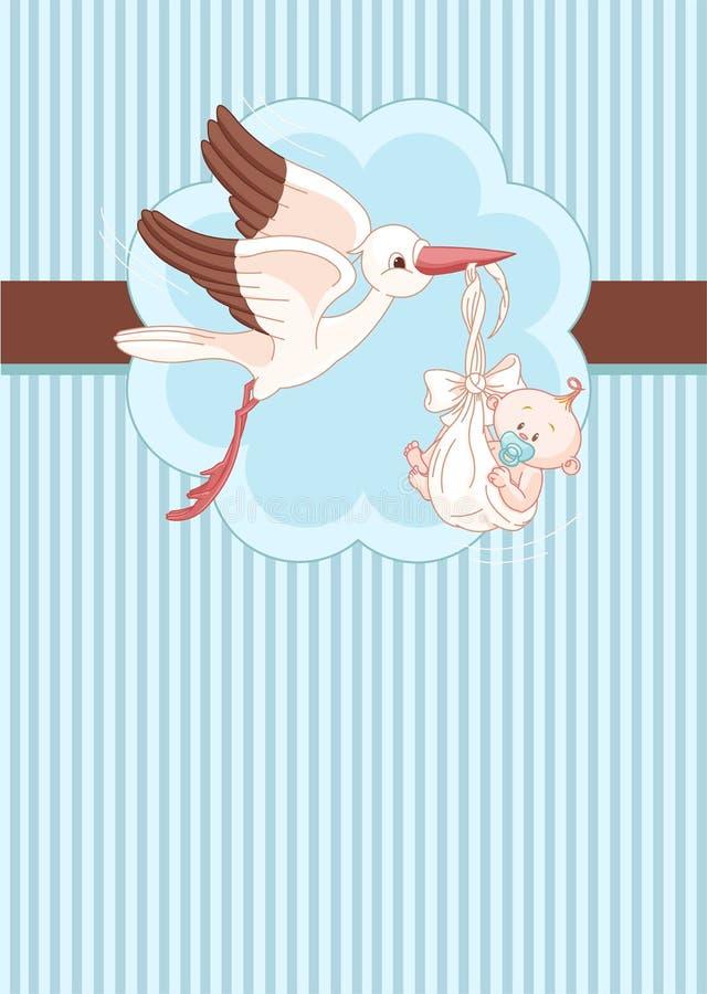 Storch- und Babyplatzkarte stock abbildung