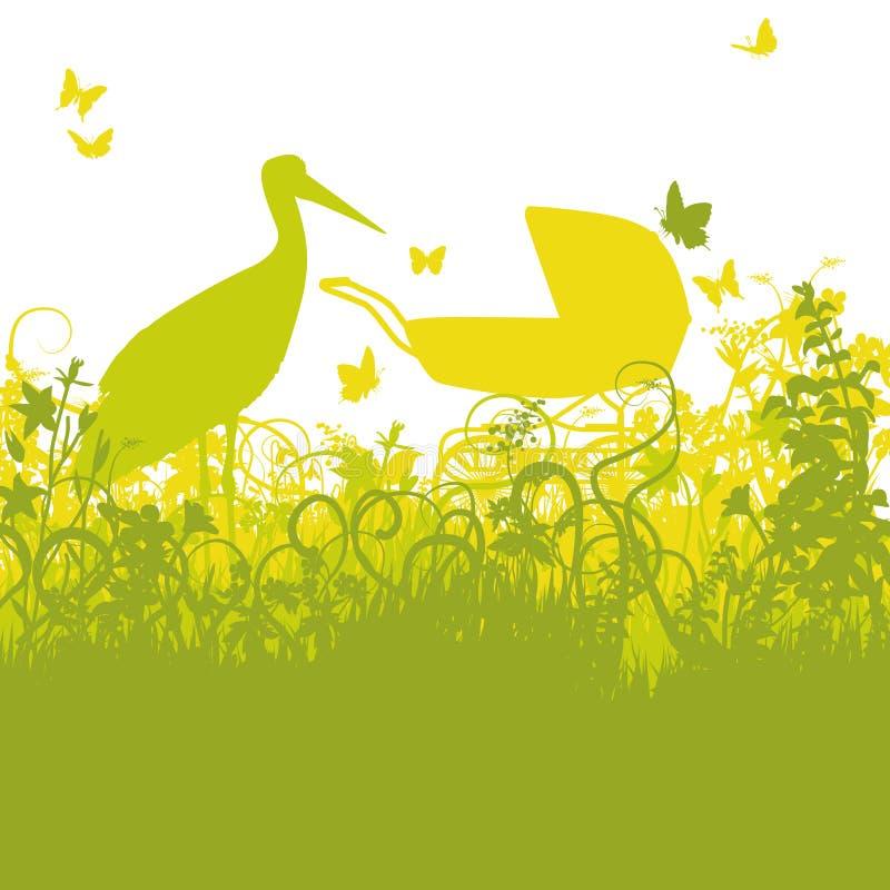 Storch und Kinderwagen im verzauberten Garten lizenzfreie abbildung