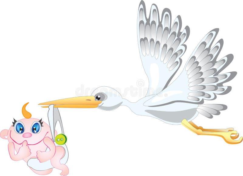 Storch und Schätzchen. lizenzfreie abbildung
