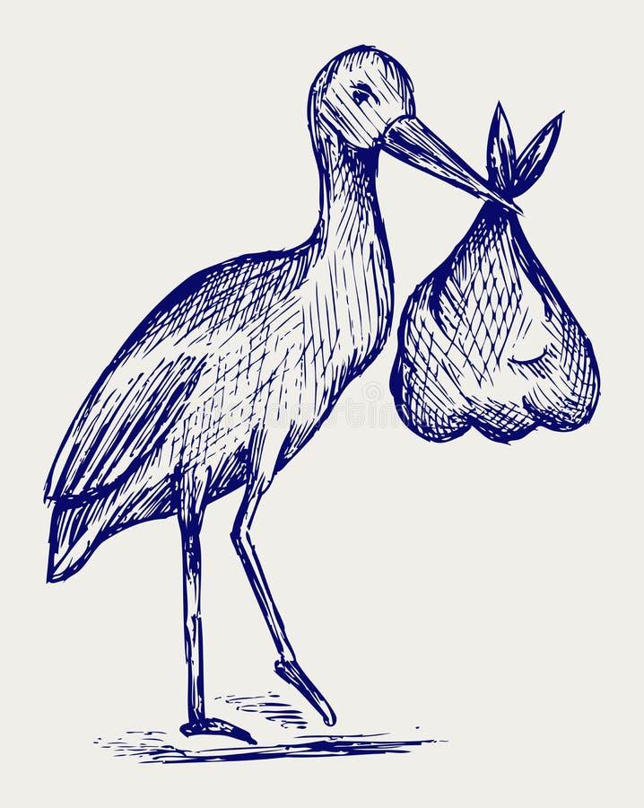 Storch und Schätzchen vektor abbildung