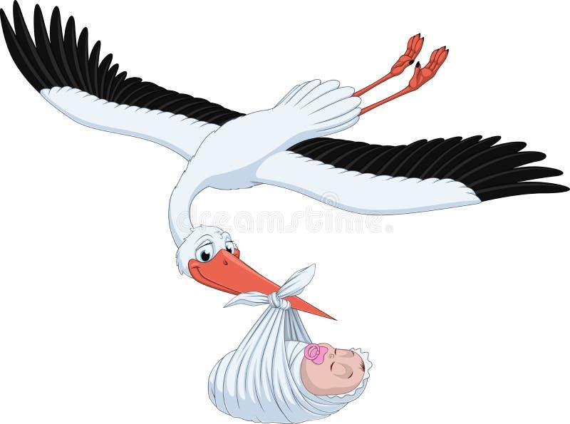 Storch und Schätzchen lizenzfreie abbildung