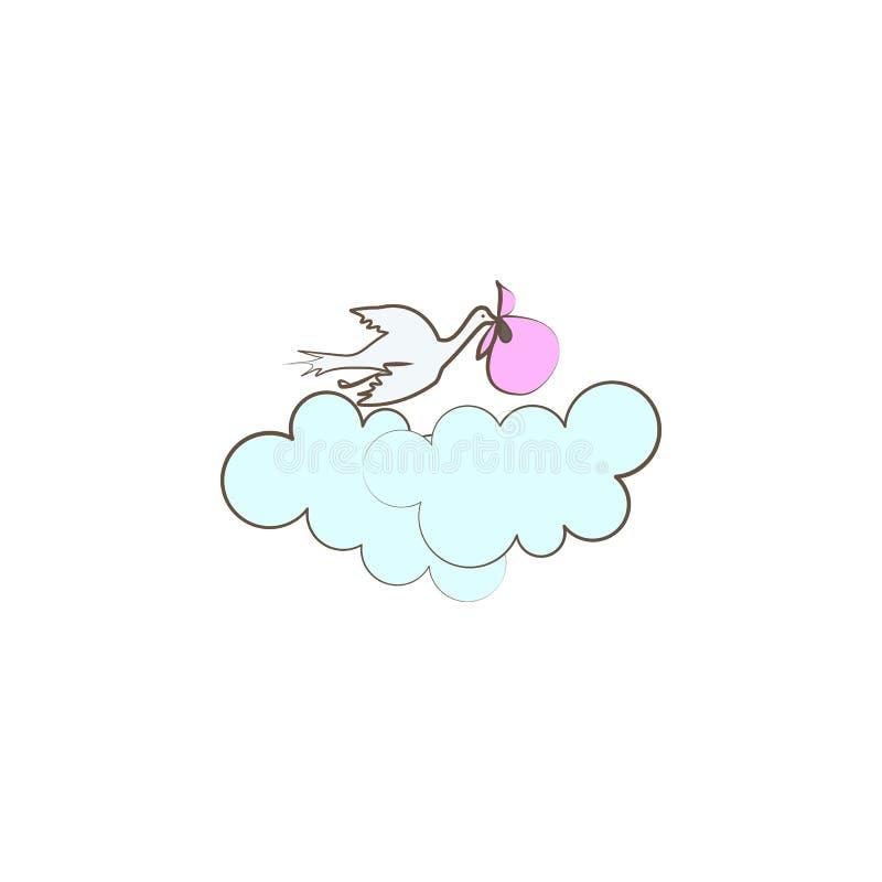 Storchbewegungs-Babyikone Element der Muttertagesikone für bewegliche Konzept und Netz apps Farbige Storchbewegungs-Babyikone kan lizenzfreie abbildung