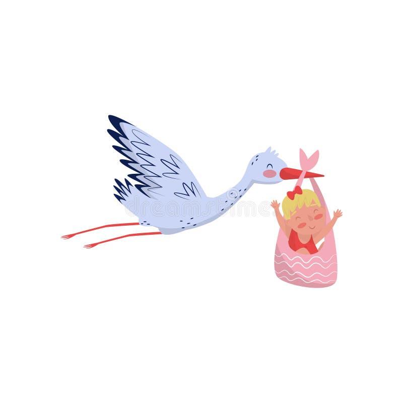 Storchfliegen mit nettem kleinem Mädchen in der Tasche Neugeborenes Kind Flaches Vektorelement für Babypartykarte oder -plakat vektor abbildung