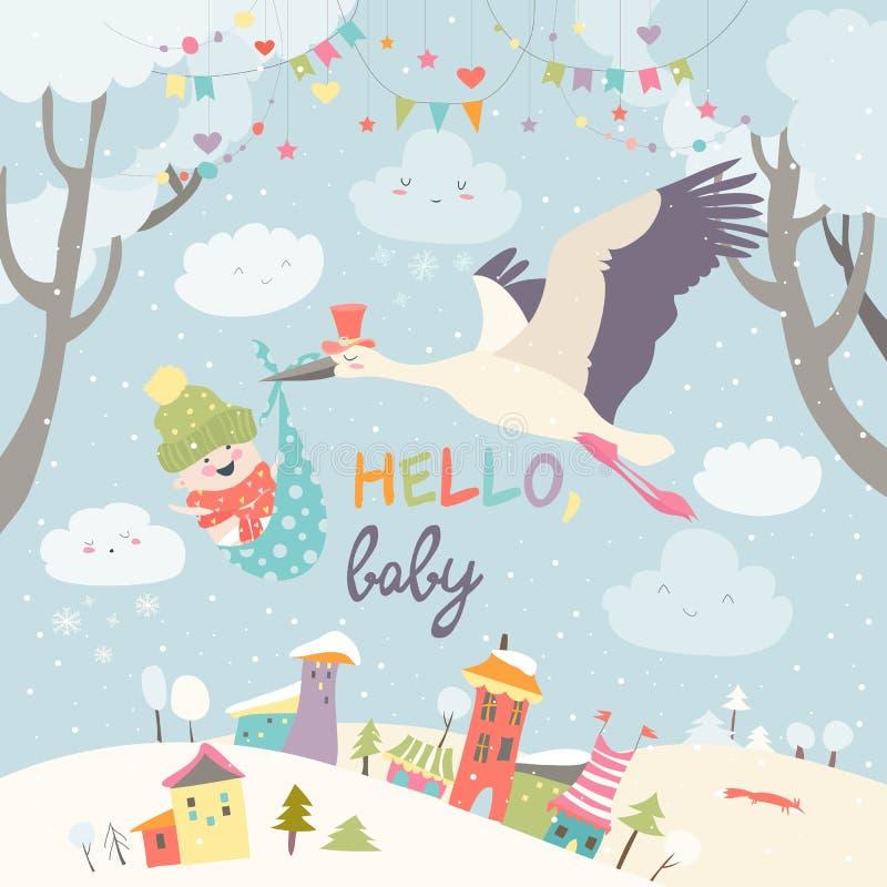 Storchvogel mit Baby lizenzfreie abbildung