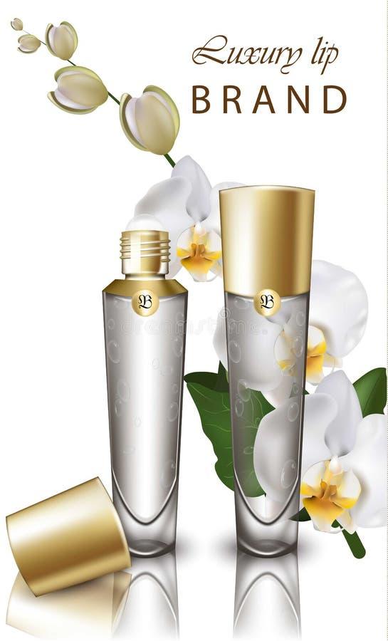 Storczykowy kwiat pomadki egzamin próbny w górę kosmetyka realistycznego wektoru Produkt Pakuje projekt Warga balsam ruruje genti ilustracja wektor