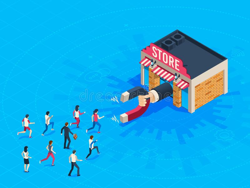 Store attraction customers. Market magnet attracted loyal customer. Inbound marketing attract clients vector isometric stock illustration